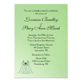 Green Lesbian Wedding Card