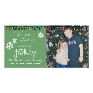 Green Let's Be Jolly Christmas Holiday Photo Card