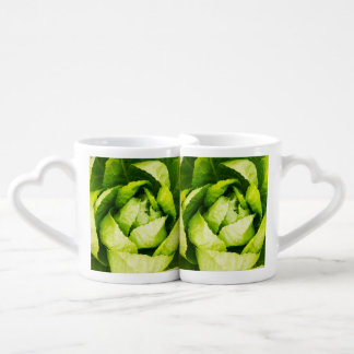 Green Lettuce Leaves With Raindrops Couples' Coffee Mug Set