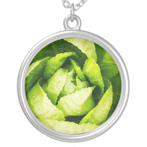 Green Lettuce Leaves With Raindrops Round Pendant Necklace