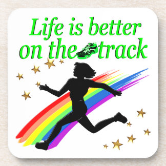 GREEN LIFE IS BETTER ON THE TRACK DESIGN BEVERAGE COASTER