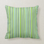 [ Thumbnail: Green, Light Blue, Dark Olive Green & Light Cyan Throw Pillow ]