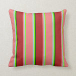 [ Thumbnail: Green, Light Blue, Light Coral, Red & Dark Green Throw Pillow ]