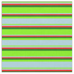 [ Thumbnail: Green, Light Blue, Red & Dark Green Stripes Fabric ]