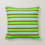 [ Thumbnail: Green, Light Blue, Red & Dark Green Stripes Pillow ]