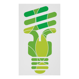 Green Light bulb graphic poster