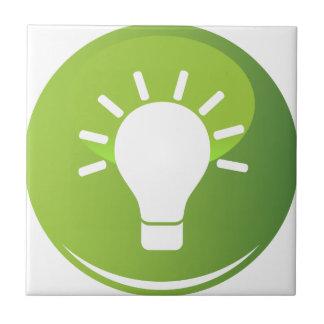 Green Light Bulb Icon Ceramic Tile