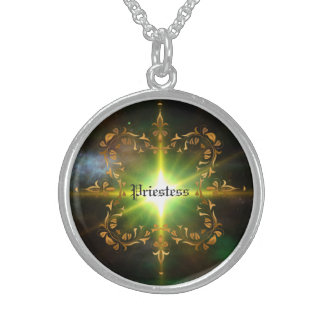 Green light burst! Priestess Sterling Silver Necklace