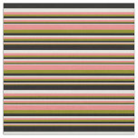 [ Thumbnail: Green, Light Coral, Beige, and Black Lines Fabric ]