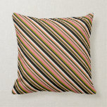 [ Thumbnail: Green, Light Coral, Beige, and Black Lines Pillow ]