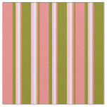 [ Thumbnail: Green, Light Coral, White & Pink Stripes Fabric ]