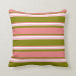 [ Thumbnail: Green, Light Coral, White & Pink Stripes Pillow ]