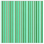 [ Thumbnail: Green, Light Cyan, and Dark Green Striped Pattern Fabric ]
