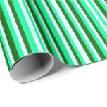 [ Thumbnail: Green, Light Cyan, and Dark Green Striped Pattern Wrapping Paper ]