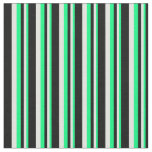 [ Thumbnail: Green, Light Cyan & Black Colored Stripes Fabric ]
