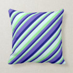 [ Thumbnail: Green, Light Cyan, Blue & Slate Blue Pattern Throw Pillow ]