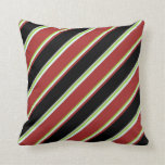 [ Thumbnail: Green, Light Cyan, Brown, Black & Grey Lines Throw Pillow ]