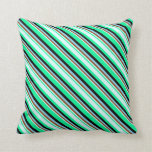 [ Thumbnail: Green, Light Cyan, Brown, Sky Blue & Black Lines Throw Pillow ]