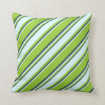 [ Thumbnail: Green, Light Cyan & Dark Slate Gray Colored Lines Throw Pillow ]
