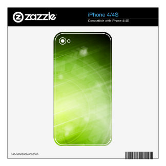 Green light design in hi-tech style skin for iPhone 4S