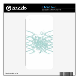 Green light design on white decal for iPhone 4