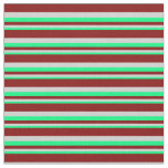 [ Thumbnail: Green, Light Gray & Maroon Colored Lines Fabric ]