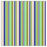 [ Thumbnail: Green, Light Green, Blue & Tan Lined Pattern Fabric ]