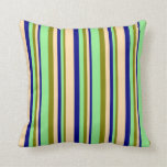 [ Thumbnail: Green, Light Green, Blue & Tan Lined Pattern Throw Pillow ]
