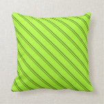 [ Thumbnail: Green & Light Green Colored Lines/Stripes Pattern Throw Pillow ]
