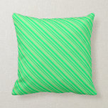 [ Thumbnail: Green & Light Green Colored Striped Pattern Pillow ]