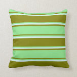 [ Thumbnail: Green, Light Green & Light Cyan Colored Lines Throw Pillow ]