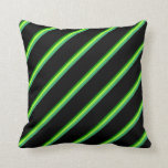 [ Thumbnail: Green, Light Green, Sea Green, and Black Lines Throw Pillow ]