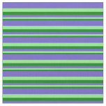 [ Thumbnail: Green, Light Green & Slate Blue Colored Lines Fabric ]
