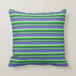 [ Thumbnail: Green, Light Green & Slate Blue Colored Lines Throw Pillow ]