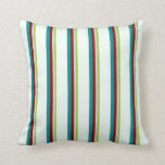 [ Thumbnail: Green, Light Grey, Dark Red, Dark Cyan, Mint Cream Throw Pillow ]