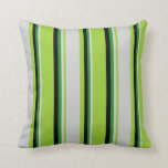 [ Thumbnail: Green, Light Grey, Forest Green & Black Colored Throw Pillow ]