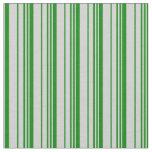 [ Thumbnail: Green & Light Grey Lined Pattern Fabric ]