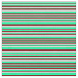 [ Thumbnail: Green, Light Grey & Maroon Lines Fabric ]