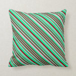 [ Thumbnail: Green, Light Grey & Maroon Lines Throw Pillow ]