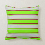 [ Thumbnail: Green, Light Grey & Maroon Pattern Throw Pillow ]