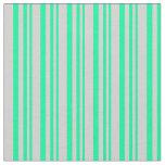[ Thumbnail: Green & Light Grey Striped Pattern Fabric ]