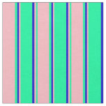 [ Thumbnail: Green, Light Pink, and Blue Lined Pattern Fabric ]
