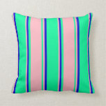 [ Thumbnail: Green, Light Pink, and Blue Lined Pattern Pillow ]