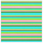 [ Thumbnail: Green, Light Pink, Forest Green, and Aqua Lines Fabric ]