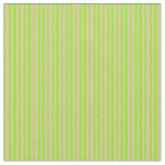 [ Thumbnail: Green & Light Pink Lines Pattern Fabric ]