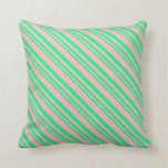 [ Thumbnail: Green & Light Pink Striped/Lined Pattern Pillow ]
