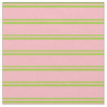 [ Thumbnail: Green & Light Pink Stripes Fabric ]