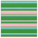 [ Thumbnail: Green, Light Pink, Turquoise & Sea Green Pattern Fabric ]