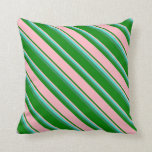 [ Thumbnail: Green, Light Pink, Turquoise & Sea Green Pattern Throw Pillow ]