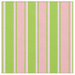 [ Thumbnail: Green, Light Pink & White Colored Stripes Fabric ]